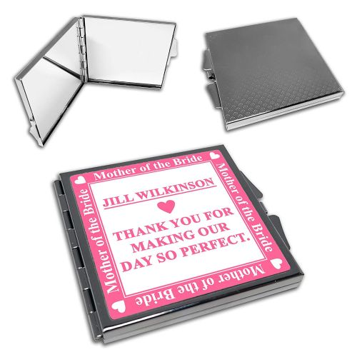 Personalised Mother of The Bride Wedding Cute Square Compact Mirror